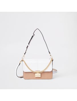 White Croc Lock Front Underarm Bag                                    White Lock Pocket Front Foldout Purse by River Island