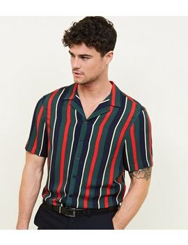 Dark Green Stripe Revere Collar Shirt by New Look