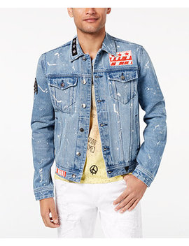 Men's Bleach Splatter Patch Denim Jacket by Guess