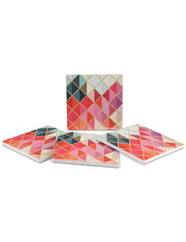 Colorful Abstract Diamonds 4 Pc. Coaster Set by Thirstystone