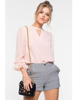 Cut Out Pleated Blouse by A'gaci