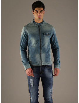 Flying Machine Men Blue Solid Denim Jacket by Flying Machine