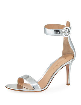 Portofino Metallic Napa Ankle Strap 85mm Sandal by Gianvito Rossi