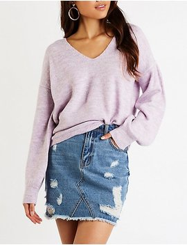 Open Back V Neck Sweater by Charlotte Russe