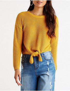 Front Tie Crop Sweater by Charlotte Russe