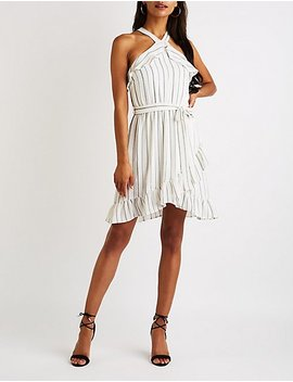 Striped Ruffle Trim Bib Neck Dress by Charlotte Russe