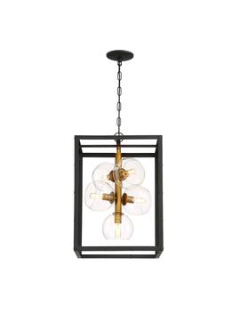 Bentley Collection 5 Light Black And Gold Chandelier With Glass Shade by Eurofase