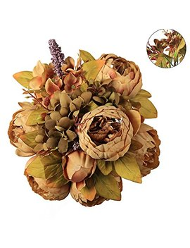 Luyue Vintage Artificial Peony Silk Flowers Bouquet, Coffee by Luyue