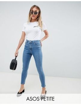 Asos Design Petite Ridley High Waist Skinny Jeans In Pretty Mid Stonewash Blue by Asos Design