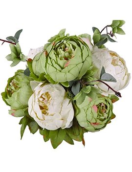Luyue Vintage Artificial Peony Silk Flowers Bouquet, New Green by Luyue