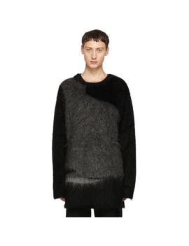 Black & Grey Mohair Crewneck Sweater by Yohji Yamamoto