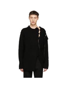 Black Leather String Crewneck Sweater by Yohji Yamamoto