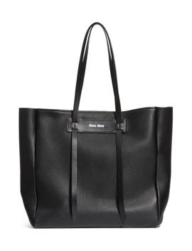 pebbled-leather-shopper by miu-miu