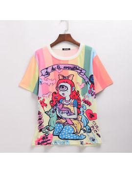 Harajuku Lady Character Girls Printing Fashion Cartoon Pattern Loose T Shirt by Unbranded