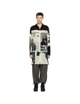 Black & White Print Long Shirt by Yohji Yamamoto