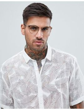 Asos Design Round Glasses In Brushed Copper With Clear Lens by Asos Design
