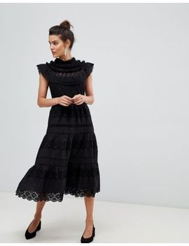 Y.A.S High Neck Lace Detail Dress by Y.A.S.