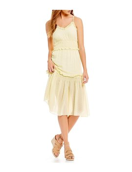 Flocked Dot Ruffle Prairie Midi Dress by Generic