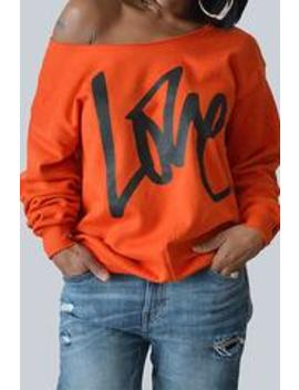 Roaso Leisure Round Neck Long Sleeves Letters Printing Orange Cotton Pullover by Roaso