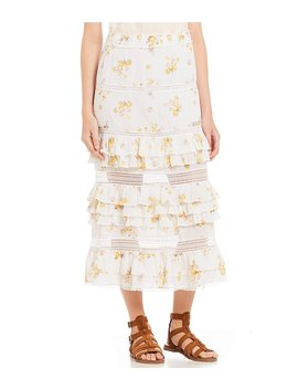 Floral Print Tiered Ruffle Coordinating Lace Prairie Midi Skirt by Generic