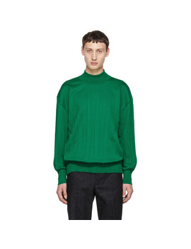 Green Wrinkle Knit Turtleneck Sweater by Issey Miyake Men