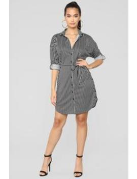 Corner Cafe Tunic Dress   Black/White by Fashion Nova
