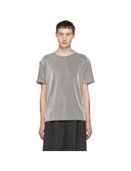 Black & White Striped Tuck T Shirt by Issey Miyake Men