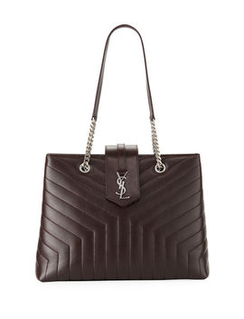 Loulou Monogram Ysl Large Quilted Shoulder Tote Bag   Nickel Oxide Hardware by Saint Laurent