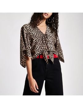 Brown Leopard Print Tie Front Cape Top by River Island