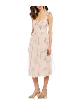 Floral Embroidered Tie Strap Sweetheart Midi Dress by Generic