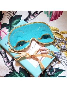Breakfast At Tiffany's Holly Golightly Audrey Style Teal Gold Sleep Mask & Optional Tassel Ear Plugs Or Earrings Set by Tarnished Past