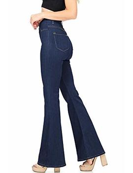 Lueyif Womens Bell Bottom Jeans High Waisted Flare Fitted Casual Plain Denim Pants by Lueyif