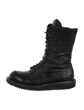 Rick Owens Leather Combat Boots by Rick Owens