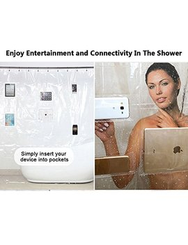 Urbanviva Eco Friendly Eva Clear Shower Curtain I Pad Mount Waterproof Liner With Pockets For Tablets Or Phones by Urbanviva