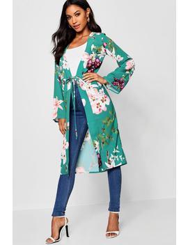 Anya Oriental Flower Print Kimono by Boohoo