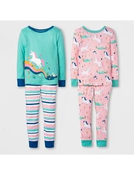 Toddler Girls' Unicorn 4pc Pajama Set   Cat & Jack™ Peach by Shop All Cat & Jack™