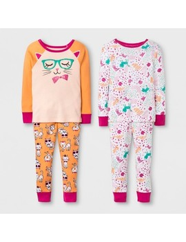 Toddler Girls' Kitty 4pc Pajama Set   Cat & Jack™ Orange by Shop All Cat & Jack™