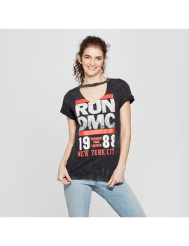 Women's Run Dmc Short Sleeve Neck Cut Out Graphic T Shirt (Juniors') Black by Shop All Bravado