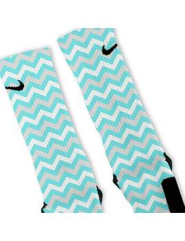 Custom Chevron Teal Blue Nike Elites Socks by Galaxy Elites