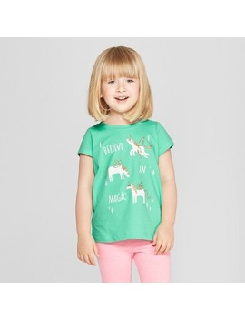Toddler Girls' Unicorn Short Sleeve T Shirt   Cat & Jack™ Iridescent Green by Shop All Cat & Jack™
