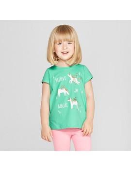 Toddler Girls' Unicorn Short Sleeve T Shirt   Cat & Jack™ Iridescent Green by Shop All Cat & Jack™