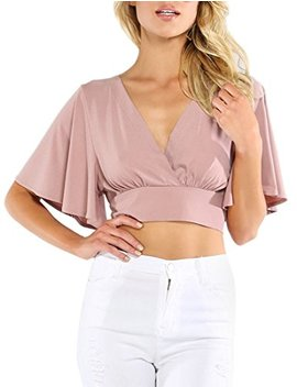 Milumia Women's Sexy Deep V Neck Cross Wrap Slim Fit Crop Tops by Milumia