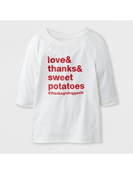 """Toddler 3/4 Sleeve """"Love & Thanks & Sweetpotatoes"""" Raglan T Shirt   Cat & Jack™ Almond Cream by Shop This Collection"""