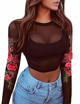 Glamaker Women's Casual Floral Lace Long Sleeve Crop Top Hollow Out Blouse Mock Neck by Glamaker
