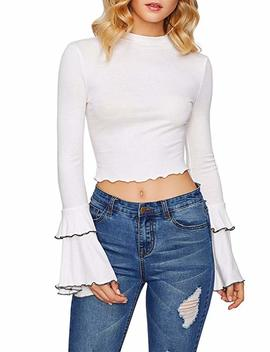 Vwiwv Women Slim Fit Long Bell Sleeve Knit Sweater Crop Tops Blouse Pullover by Vwiwv