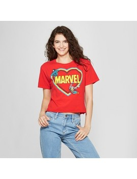 Women's Marvel Short Sleeve Avengers Heart Skimmer Graphic T Shirt (Juniors') Red by Shop All Marvel