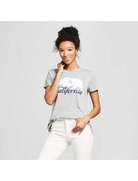 Women's Short Sleeve California Script Graphic T Shirt   Modern Lux (Juniors') Gray by Shop All Modern Lux