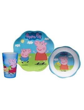 Peppa Pig Zak Designs Melamine 3pc Dinnerware Set Blue/White by Shop All Zak Designs