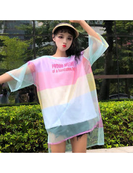 Japanese Lolita Harajuku Style Vintage Stripe Loose Short Sleeve T Shirt Tee by Unbranded
