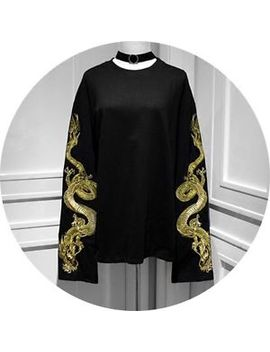 Sweet Lolita Harajuku Punk Long Sleeve Dragon Embroidery T Shirt Gothic Tops#A41 by Unbranded